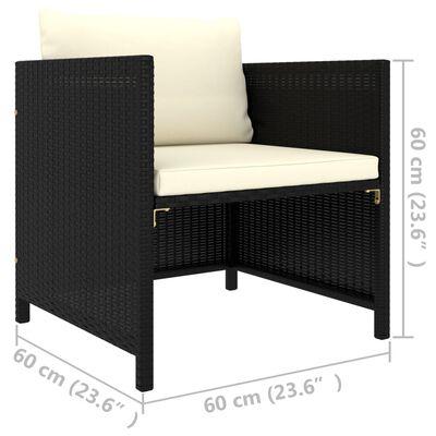 vidaXL Canapea de grădină cu perne, negru, poliratan