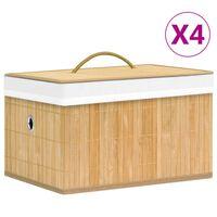 vidaXL Cutii de depozitare, 4 buc., bambus
