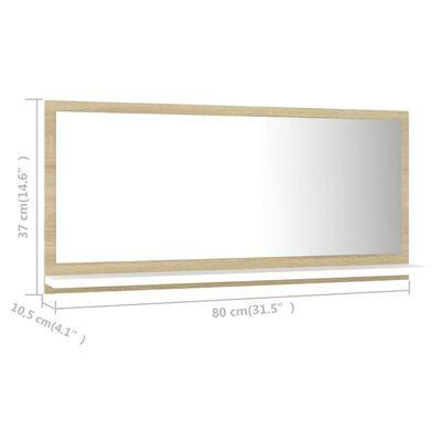 vidaXL Oglindă de baie, alb/stejar sonoma, 80 x 10,5 x 37 cm, PAL