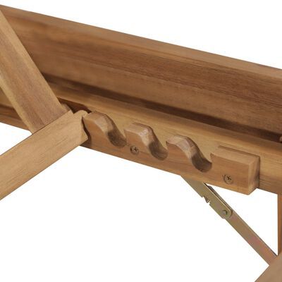 vidaXL Șezlong pliant cu pernă, lemn masiv de acacia