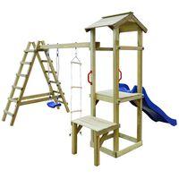 vidaXL Set joacă din lemn cu tobogan, scări, leagăn, 286x228x218 cm