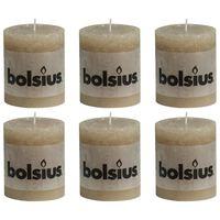 Bolsius Lumânări bloc rustice, 6 buc., bej pastel, 80 x 68 mm