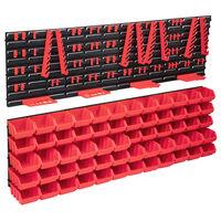vidaXL Set cutii depozitare 136 piese cu panouri de perete, roșu&negru