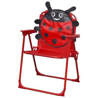 vidaXL Scaune de grădină pentru copii, 2 buc., roșu, material textil