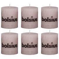 Bolsius Lumânări bloc rustice, 6 buc., roz pastel, 80 x 68 mm