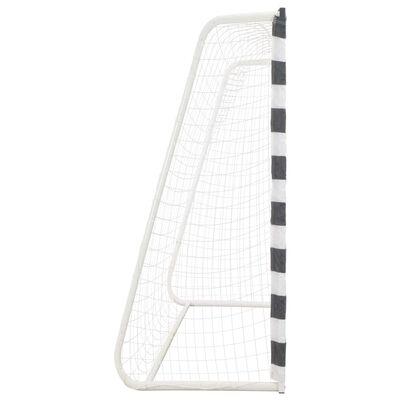 vidaXL Poartă de fotbal, negru și alb, 300 x 200 x 90 cm, metal