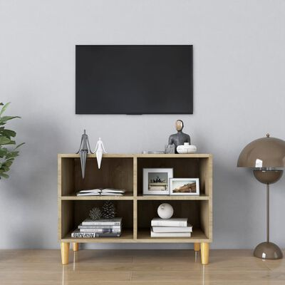 vidaXL Comodă TV, picioare lemn masiv, stejar sonoma, 69,5x30x50 cm