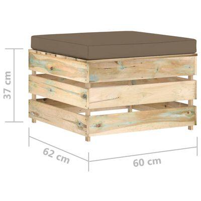 vidaXL Otoman modular cu pernă, lemn verde tratat