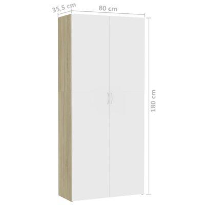 vidaXL Dulap de depozitare alb & stejar sonoma 80 x 35,5 x 180 cm PAL