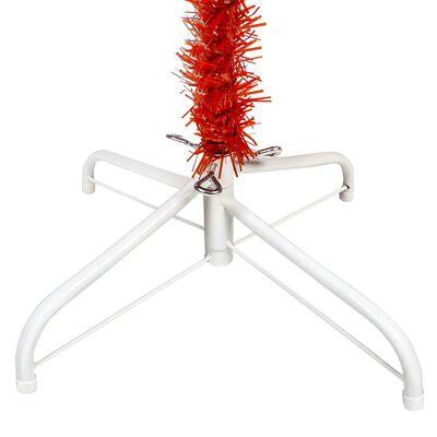 vidaXL Brad de Crăciun artificial subțire, roșu, 210 cm