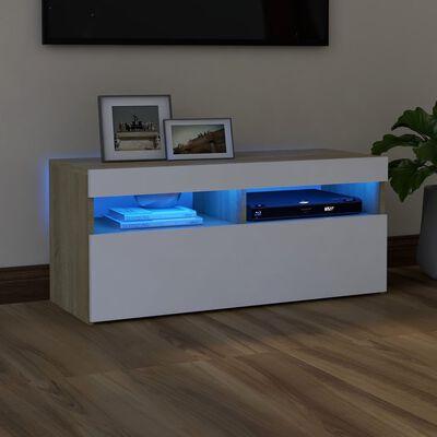 vidaXL Comodă TV cu lumini LED, alb și stejar Sonoma, 90x35x40 cm