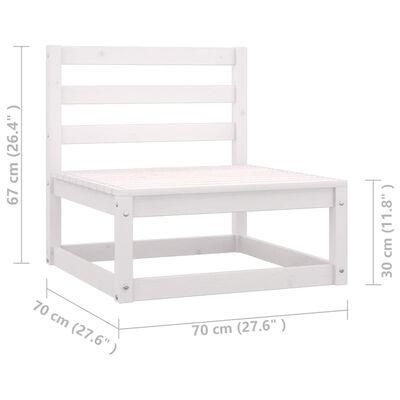 vidaXL Set mobilier de grădină cu perne, 10 piese, alb, lemn masiv pin