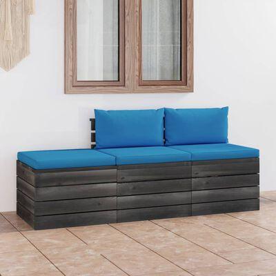 vidaXL Set mobilier grădină din paleți cu perne, 3 piese, lemn de pin