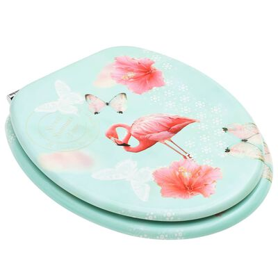 vidaXL Scaune WC cu capac, 2 buc., MDF, model flamingo