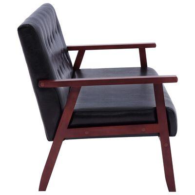 vidaXL Set de canapele, 2 piese, negru, piele ecologică