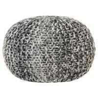vidaXL Puf tricotat manual, textil aspect lână, 50 x 35 cm, gri închis