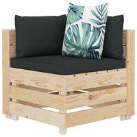 vidaXL Canapea de grădină din paleți, colțar, perne înflorate, lemn