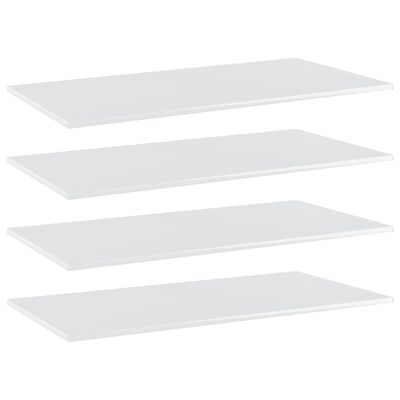 vidaXL Plăci bibliotecă, 4 buc. alb extralucios, 100 x 50 x 1,5 cm PAL