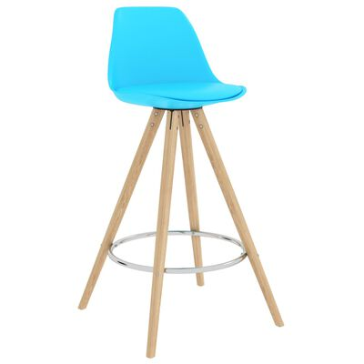 vidaXL Scaune de bucătărie, 4 buc., PP albastru, lemn masiv fag