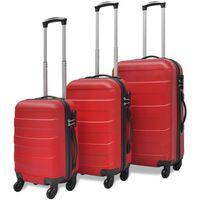 vidaXL Set valize rigide roșii, 3 buc.