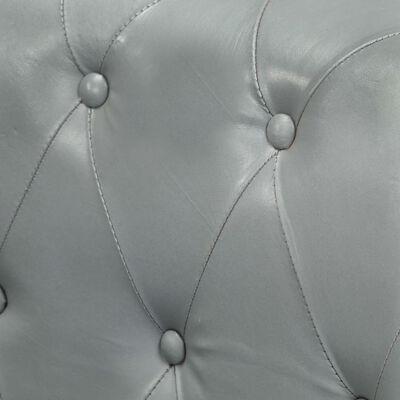 vidaXL Canapea chesterfield cu 2 locuri, gri, piele naturală