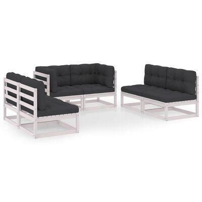 vidaXL Set mobilier de grădină cu perne, 6 piese, lemn masiv de pin