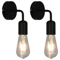 vidaXL Corpuri iluminat de perete, 2 buc., negru, E27