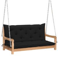 vidaXL Bancă balansoar cu pernă neagră, 120 cm, lemn masiv tec