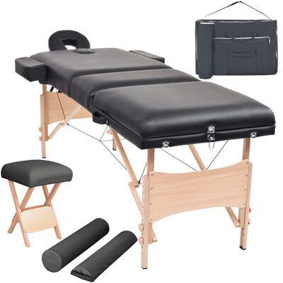 vidaXL Set taburet și masă de masaj pliabilă 3 zone negru grosime 10cm