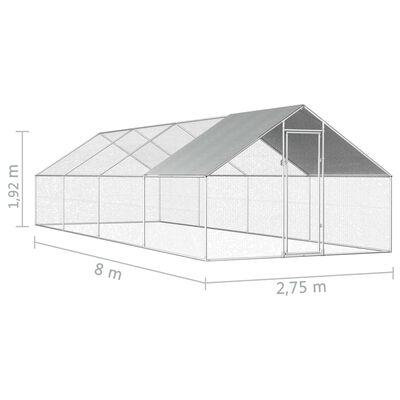 vidaXL Coteț de păsări pentru exterior, 2,75x8x1,92m, oțel galvanizat