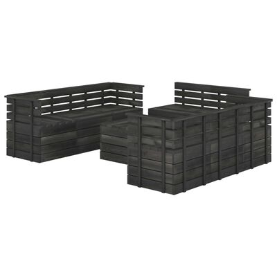 vidaXL Set mobilier grădină din paleți, 9 piese, gri închis, lemn pin