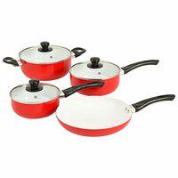 vidaXL Set de vase pentru gătit, 7 piese, roșu, aluminiu
