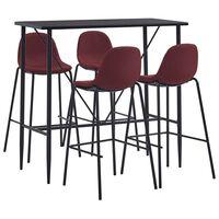 vidaXL Set mobilier de bar, 5 piese, roșu vin, material textil