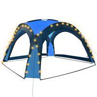 vidaXL Cort petrecere cu LED & 4 pereți laterali albastru 3,6x3,6x2,3m