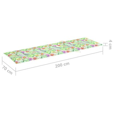 vidaXL Pernă de șezlong, model frunze, 200x70x4 cm, material textil