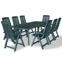 vidaXL Set mobilier de exterior, 9 piese, verde, plastic