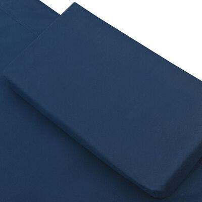 vidaXL Pat șezlong de exterior, albastru, material textil
