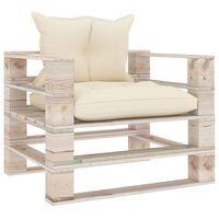 vidaXL Canapea de grădină din paleți, cu perne crem, lemn de pin