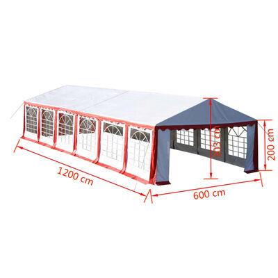 vidaXL Cort de petrecere, roșu, 12 x 6 m