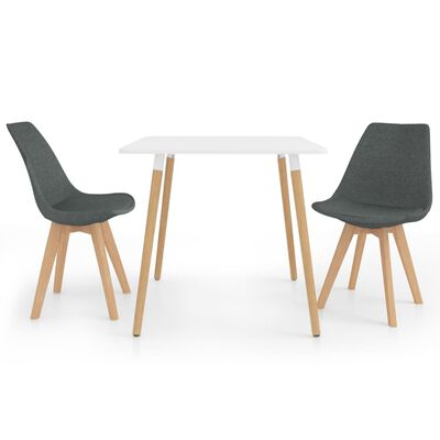 vidaXL Set de masă, 3 piese, gri deschis