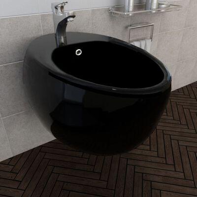Bideu din ceramică montare pe perete, Negru