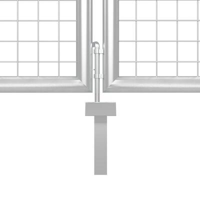 vidaXL Poartă de grădină, argintiu, 350 x 125 cm, oțel