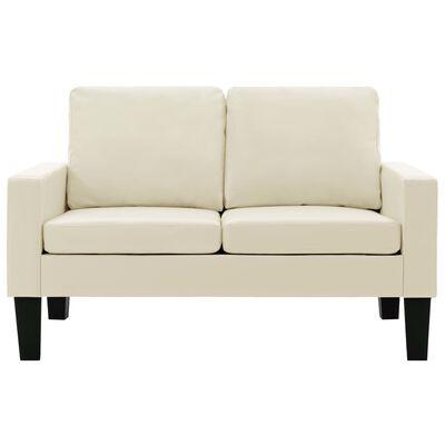 vidaXL Canapea cu 2 locuri, crem, piele ecologică