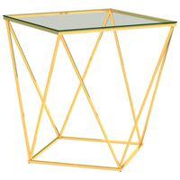 vidaXL Masă de cafea, auriu/transparent, 50x50x55 cm, oțel inoxidabil
