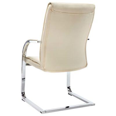 vidaXL Scaun de birou tip consolă, crem, piele ecologică