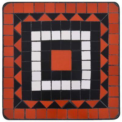 vidaXL Masă laterală cu mozaic, cărămiziu și alb, ceramică