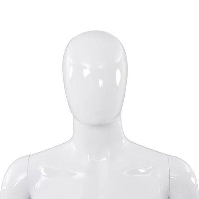 vidaXL Corp manechin masculin, cu suport din sticlă, alb lucios 185 cm