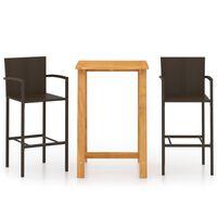 vidaXL Set mobilier de bar de grădină, 3 piese, maro