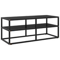 vidaXL Comodă TV neagră cu sticlă neagră, 100 x 40 x 40 cm