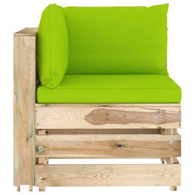 vidaXL Set mobilier de grădină cu perne, 5 piese, lemn verde tratat